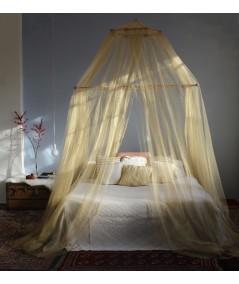 TINA Lurex Oro - Mosquitera para cama matrimonial - cuatro aberturas