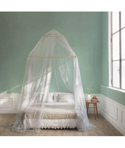 TINA Lurex Argent - Moustiquaire pour lit double - quatre ouvertures