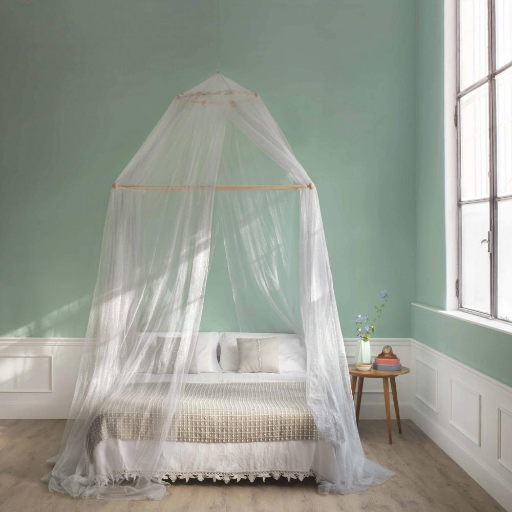 TINA Lurex Plata - Mosquitera para cama matrimonial - cuatro aberturas