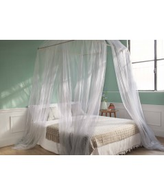 TINA Lurex Silver - Mosquito Net for King Size Bed - four Openings