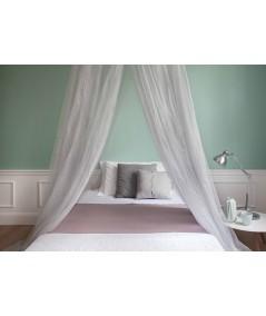 TINA Lurex Argent - Moustiquaire pour lit une place et demi - quatre ouvertures
