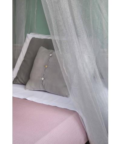 TINA Lurex Plata - Mosquitera para cama de una plaza y media - cuatro aberturas