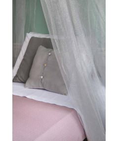 TINA Lurex Silber - Moskitonetz für Französisches Bett - vier Öffnungen