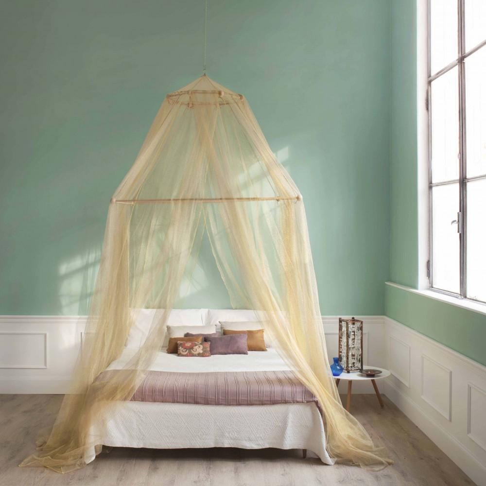 TINA Lurex Ouro - Mosquiteiro para cama king size - quatro aberturas
