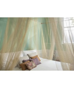 TINA Lurex Gold - Mosquito Net for King Size Bed - four Openings