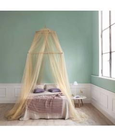 TINA Lurex Oro - Mosquitera para cama de una plaza y media - cuatro aberturas